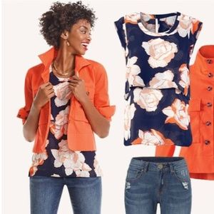 NWOT CAbi NAVY & ORANGE #3050 BLOSSOM TIERED TOP